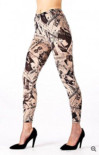 Buona qualità, alla moda, lady gaga, stampa giornale style, small/medium, leggings, moda di 'flirt' designer collant (136lg).