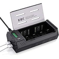 EBL 908 Cargador de Pilas para Cargar 1~4 Pilas de AA/AAA/C/D y 1~2 Pilas Recargables de 9V Ni-MH Ni-CD con 2 Puertos de USB, Pantalla LCD y Función de Descarga