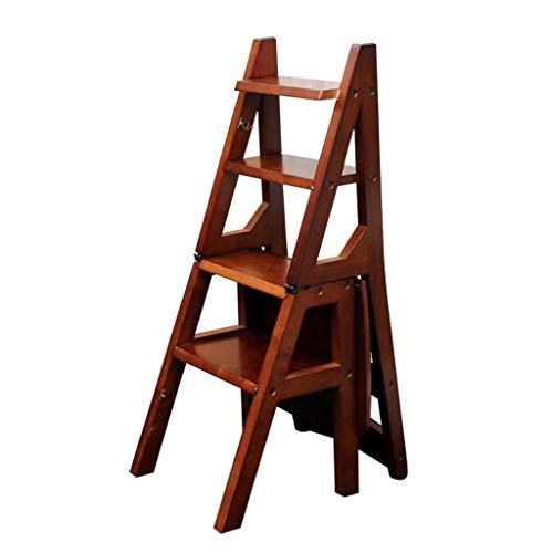 WZ-Klappstufen Faltbare Massivholz Leiter Stuhl Hocker Multifunktionsregal Leiter Home Bibliothek 4 Schritte 150 kg Kapazität (4 Farbe) (Farbe : Brown)
