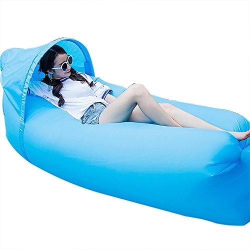 Jinyjia portatile pigro lounger sacco a pelo, outdoor indoor air divano divano letto matrimoniale, nylon impermeabile pieghevole, beanbag per rilassarsi, estate campeggio, spiaggia, pesca (cielo blu)