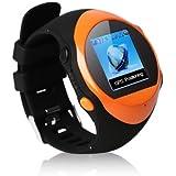 GPS Montre de sport Fitness avec fonction de MP3 Lecteur, Horloge, GPS poursuite et SOS d'appel d'urgence- Orange