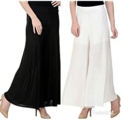 M.G.R.J Indian Ethnic Rayon Designer Plain Casual Wear Palazzo Pant For Women's ( White, Black ) - Free Size