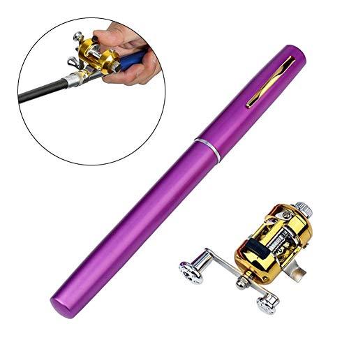 H.Yue Pen Fishing Pole, Mini Portable Pocket Fish Rod Reel Combo Set for Ice Fly Fishing Sea Saltwater Freshwater (Purple) -