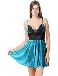 cdcde3cdea70 PHWOAR Women Satin Babydoll Night Dress Short Length Free Size Green | Sexy  Honeymoon Lingerie for