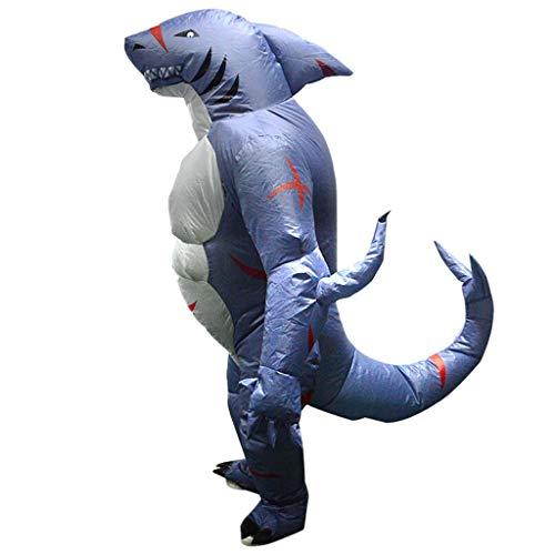 Haifisch Kostüm Aufblasbare - Fenteer Witzige Haifisch Kostüm Aufblasbares Kostüm Luft Jumpsuit Fatsuit für Karneval Cosplay Party und Halloween, aus Polyester