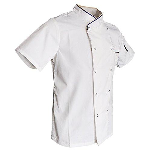 F Fityle Herren Damen Kochjacke mit Drückknöpfe Bäckerjacke Arbeitsjacke Kochhemd Chefmantel Gastronomie Berufsbekleidung - Weiß, 2XL -
