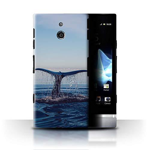 Stuff4® Hülle/Case für Sony Xperia P/LT22i / Tauchender Delphin Muster/Delfine Meereslebens Kollektion