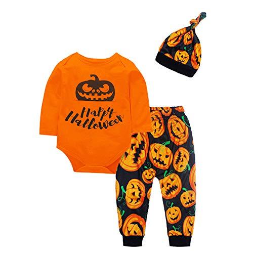 Baby Langarm Kürbis Ghost Print Halloween 3-teiliges Set Kleinkind Baby Boy Girl Kürbis Print Top Bluse Hosen Cap Halloween Outfits Set (Kleinkind Bat Girl Kostüm)