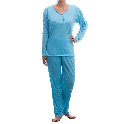 Lucky Damen Langarm Pyjama mit Paspel und Knopfleiste Blau