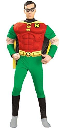 Karnevalsbud - Herren Robin, Batman, Superheld Muskel Kostüm, S, Rot-Grün-Gelb