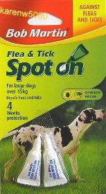 Nueva Twin Pack 2Pk Bob Martin pulgas y garrapatas Spot On para todos los Perros 15kg & over