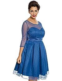 Lindy Bop Serephina Royal Blue Polka Dot Prom Dress