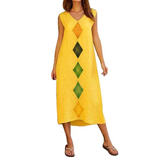 Frauen Casual Floral Abend Party Kleid Frauen Sommer ärmellose V-Ausschnitt Baumwolle Leinen gedruckt beiläufige lange Maxi Strandkleid -