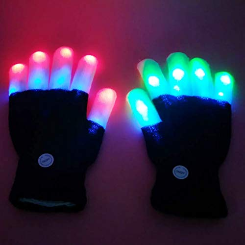Allbesta LED Leuchtende Handschuhe Bunte Licht Beleuchtung für Party Tanzen Halloween Weihnacht Karneval Geburtstag Coole Spielzeuge Einheitsgröße