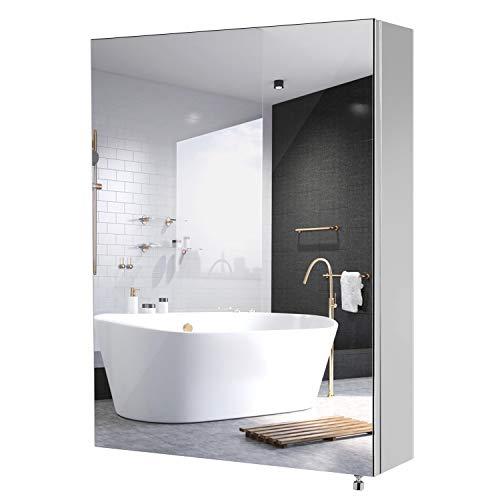 Homfa armadio specchio da bagno 1 ante armadietto 3 ripiani interiori mobiletto da muro acciaio inox 45 x 60 x 13 cm