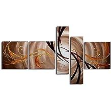 wieco Art–L'extension de l'univers moderne tendue et encadrée art 5panneaux 100% abstraite Peintures Huile sur toile murale Motif peint à la main prêt à accrocher Décoration pour la maison décor mural