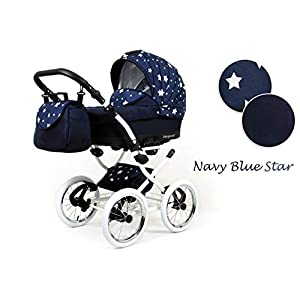 Travel System Retro Stroller Pram 2in1 3in1 Set Isofix Nostalgica by SaintBaby Navy Blue Star 2in1 Without Baby seat   13