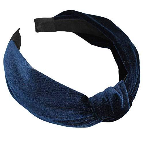 bobo4818 Damen Stirnband Twist Hairband Bow Knot Cross Tie samt Headwrap Haarband (Navy) Velvet Bow Headband