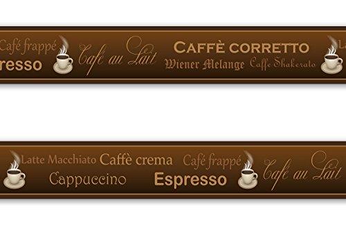 Selbstklebende Bordüre 'Kaffee', 4-teilig 560x15cm, Tapetenbordüre, Wandbordüre, Borte, Wanddeko,Coffee, Coffee