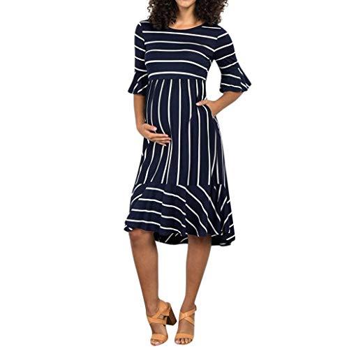 Gestreifte Kostüm Blazer - Pingtr - Damen Mutterschaft Kleid,Frauen Mutterschaft Kleider Mutter Flare Sleeve Gestreifte Schwangerschaft Sommer Sommerkleid