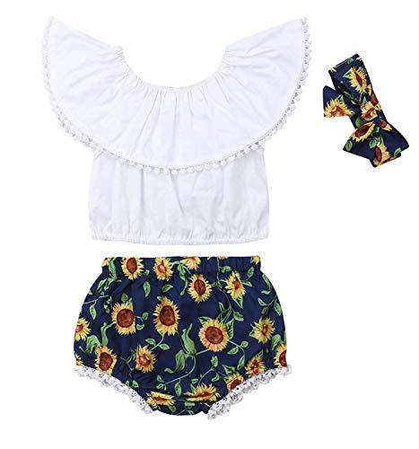 WANGSAURA 3 Pcs Neugeboren Prinzessin Sommer Säugling Kleinkind Baby Mädchen Blumen Ärmellos Spielanzug Outfits Kleidung Set Overall Kleider Set mit Stirnband 0-24 Monat Blumen-outfit