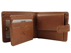 Visconti Mens Vicenza Italian Leather Wallet in Tan by Boxed with Tab