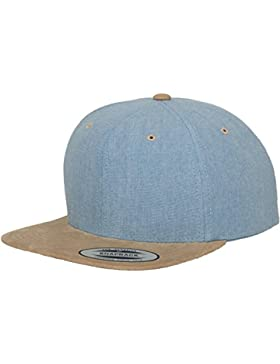 Flexfit Chambray Suede Classic Snapback Baseball Cap Cappello Visiera Piatta Hip Hop, da uomo