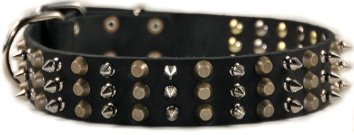 Dean and Tyler Hundehalsband, Leder, mit Metallbeschlägen aus Nickel und Messing, 96,5 x 4,4 cm, für einen Halsumfang von 91,4 cm bis 101,6 cm, Schwarz