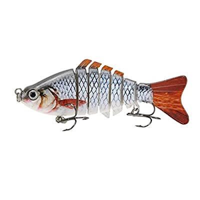 "Fishing lure - TOOGOO (R) 10cm / 4 ""15.5g Bionic realistic Hard Multi-segments bait for sun-fish Bass Walleye Yellow Perch Pike Roach Trout Muskie Swimbait from TOOGOO (R)"