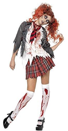 Zombie Schulmädchen Uniform Halloween Kostüm Kleid Outfit - grau, 12-14 ()