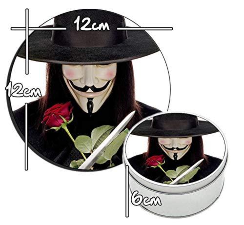 MasTazas V for Vendetta H Runde Metalldose aus Zinn Round Metal Tin Box