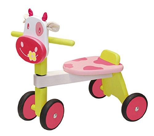 Porteur en bois pour bébé Zoé la vache rose