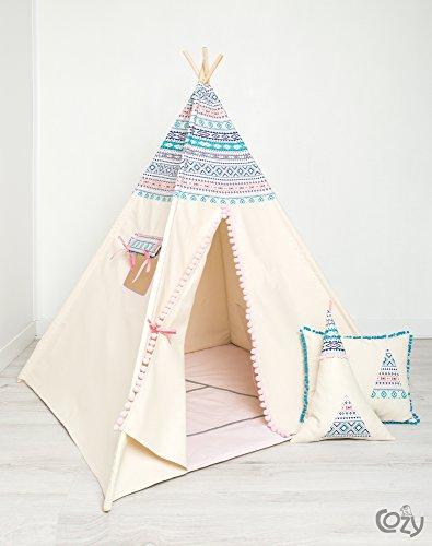 Handmade Spielzelt, Kinderzelt, Indianisches Tipi Zelt, Teepee Aztec set 6 Elemente,