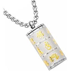 Sharplace Collar Colgante de Sánscrito de Acero Inoxidable Joyería Conmemorativa Urna de Cenizas - Plata y Oro