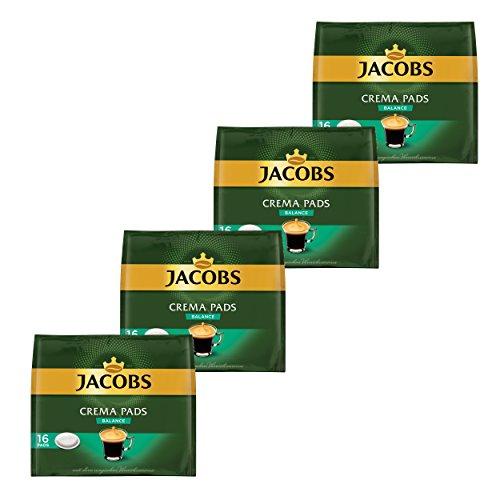 Jacobs Kaffeepads Crema Pads, Balance, Samtiger & Weicher Geschmack, Kaffee, 64 Pads