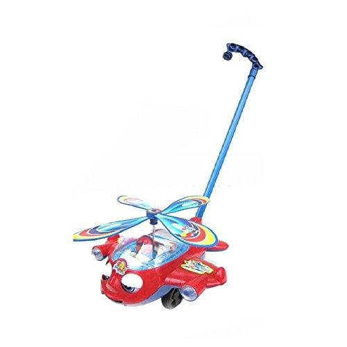 CXZC Große Hand schieben kleines Flugzeug, Walker, Fliegender Hubschrauberflugzeug ABS Handschieben Spielzeug Geschenke Kinder Kinder Spaß mit großen Ruten Hubsch
