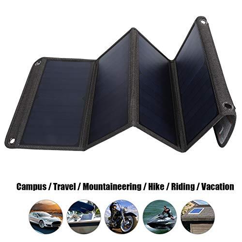 Oumij Solar Charger 28W Tragbares Solarpanel Faltbarer Dual-USB-Ausgang Hoher Wirkungsgrad 23% ~ 25% Reise im Freien 5V / 2.9A Wasserdichtes faltbares Solarladeset für den Notfall