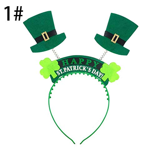 trick es Day, Cute Green Hat Clover Hair Hoop Headband Adult Kids St. Patrick ' s Day Hairband-1#