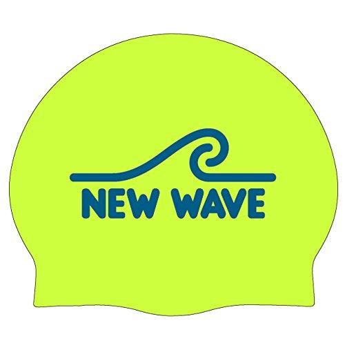 New Wave Swim Buoy Silikon Schwimmkappe Badekappen Silicone Swim Cap (Fluo Grün) (Fluo Grun)