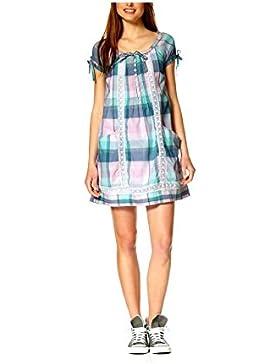 Tom Tailor Damen-Kleid Webkleid mit Spitze rosa-mint Mehrfarbig