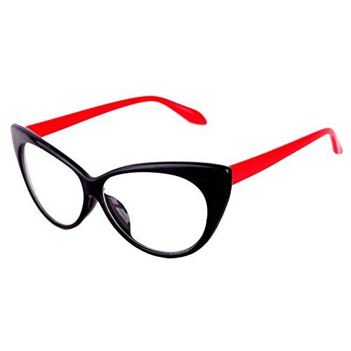 Bluelans Klarglas Cateye Brille Damen Vintage Damenbrillen in verschiedenen Farben (Schwarz/Rot)