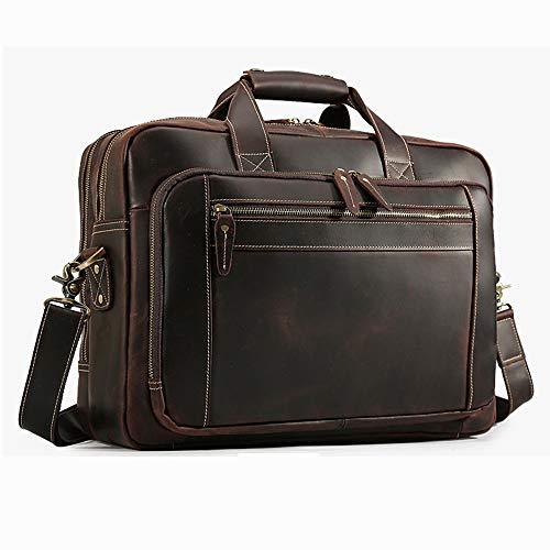 HRUIIOIH Aktentasche für Männer Leder, Casual Fashion Umhängetasche Rucksack 15 Zoll Laptop Slim Business Schulter Vintage Nachricht Taschen,Brown (Leder Nachricht Taschen Für Männer)
