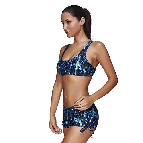 Lover-Beauty Damen Sport Push up Bikini Sets hohe taille Badeanzug Bademode Tankini Indigo