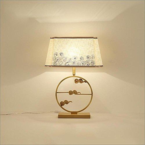 OOFWY E27 Wolken-Tabellen-Lampe Chinesisches kreatives für Hotel-Schlafzimmer-Wohnzimmer-Nachttopf-Dekoration-Tuch reine kupferne Schreibtisch-Lampen-Höhe 64CM - 64 Tabelle Lampe