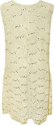 WearAll - Robe de soirée sans manches en dentelle florale pailletée - Robes - Femmes - Grandes tailles 40 à 54 Crème