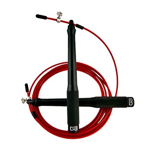 GRAVITY BOOST® Ultimate Speed Rope ALUMINIUM - Springseil Ideal für CrossFit Training, WOD's, Boxen, MMA und Fitnessübungen - CNC Gefräste Aluminium Griffe - Inklusive Gratis Trainingshandbuch und Tragetasche – The Functional Fitness System® (Springseil - Speedrope - Seilspringen - Crossfit - Jump Rope) (Gravity Box)