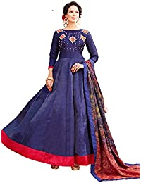 AnK Women's Blue Banglori & Georgette EmbroideredLong Semi-Stitched Salwar Suit With Printed Dupatta