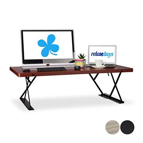 Relaxdays Sitz-Steh-Schreibtisch XXL, ergonomischer Steharbeitsplatz, höhenverstellbarer Aufsatz,...