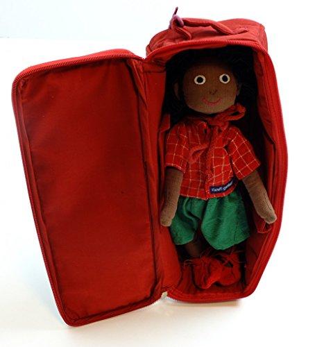 Handgefertigte Rote Tasche (Jungen-Puppe Bob mit Geschlechtsteilen inkl. Schrank (Tasche) / handgefertigte Puppe (Fair Trade) / Größe: 35 cm / Gewicht: 360 g)