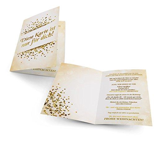 Lustige Weihnachtskarte Geheimnis von Faules Einhorn, auf hochwertigem 300g Papier inklusive Umschlag
